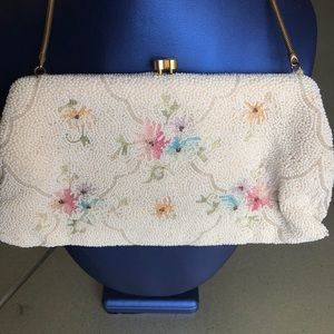 VINTAGE Beaded/Floral Hand Made/Purse/France